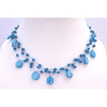 N297  Turquoise Shell Fancy Beads Three Stranded Choker Necklace