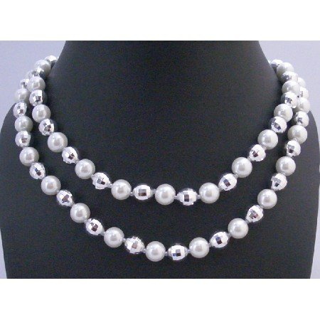 N326  White Pearls Multifaceted Bead Long Necklace 64 Inches Long Necklace