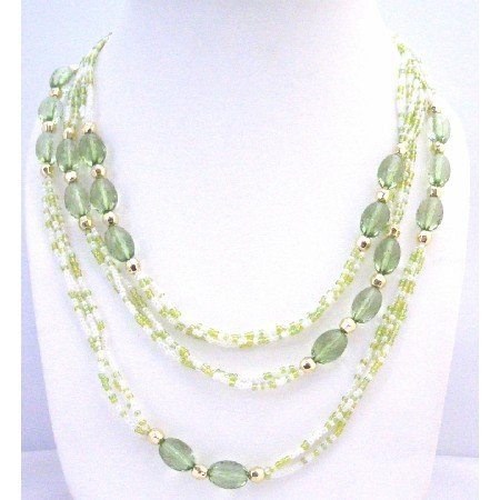 N296  Green Fancy w/ Tiny White Beads Long Long Fancy Lucite Beads Long Necklace