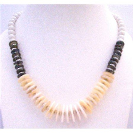 N289  Natural Color Rings w/ Black Rings & White Pearls Classy Necklace