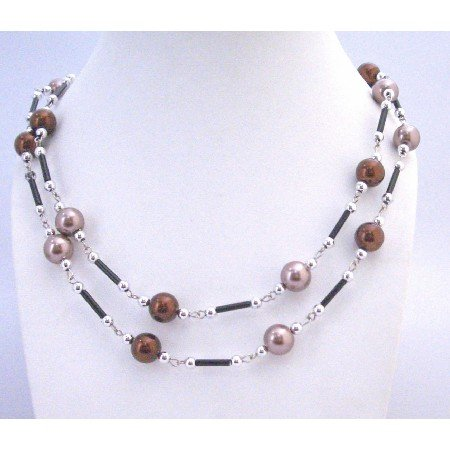 N305 Long Necklace Brown Lavender Pearls w/ Fancy Black Pipe & Silver Beads 56 Inches Necklace