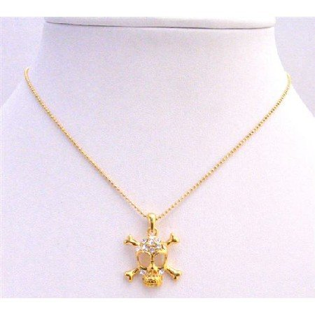N337  Gold SKull Pendant Necklace Pendant Embedded CZ Skull Necklace
