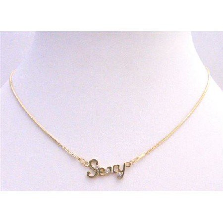 N336  Sexy Pendant Decorated w/ Cubic Zircon Gold Chain Necklace