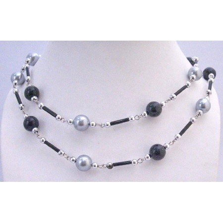 N323  Grey Black Pearls Long Summer Necklace Fancy Beads 56 Inches Affordable Long Necklace