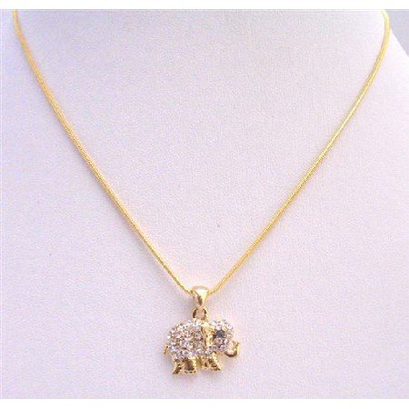 N376  Golden Elephant Pendant Embedded w/ Cubic Zircon Necklace Gold Necklace