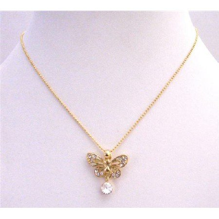 N374  Butterfly Gold Pendant Fully Embedded w/ Cubic Zircon & CZ Stud Dangling Gold Chain Necklace