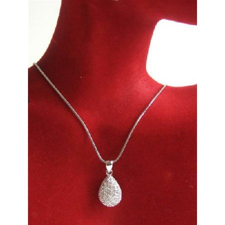 N705  Pear Pendant Necklace Fully Embedded w/ Cubiz Zirconia Necklace