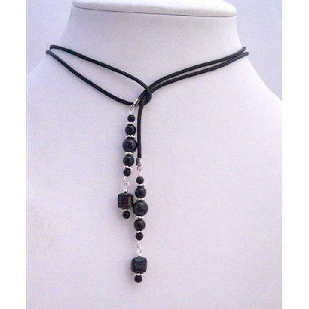 N506 Swarovski Mystic Pearls & Jet Crystals w/ Silver Spacer Black Leather Cord Necklace