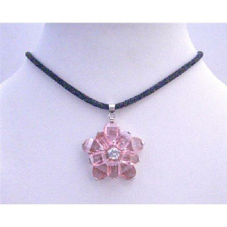 N485  Sunflower Pendant Pink Crystals Flower Pendant w/ Black Velvet Cord Necklace