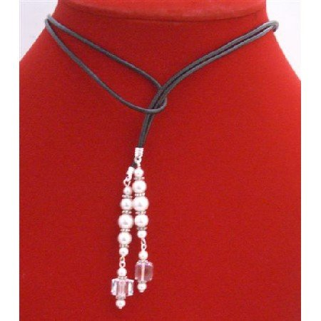 N324  White Pearls Lariat Necklace w/Swarovski Cube Clear Crystals Bali Silver Spacer Necklace