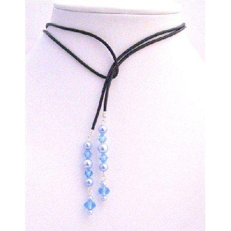 N351  Aquamarine Crystals Lariat Necklace w/ Genuine Swarovski Blue Pearls Necklace