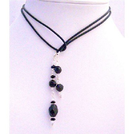 N253  Black Onyx Crystals Beads Lariat Necklace Onyx Round Barrelle Ring Crystals