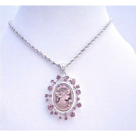 N700  Amethyst Cameo Lady Pendant Necklace Sparkling Amethyst Crystals Necklace