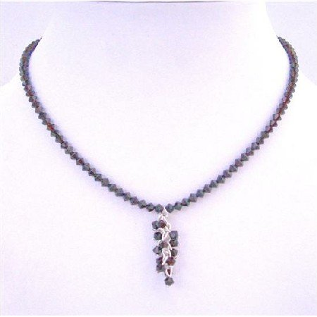 EN003  Garnet Crystals Necklace w/ Bunches Garnet Crystals Dangling Necklace
