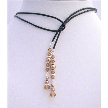 N444 Genuine Swarovski Bronze Pearls & Lite Smoked Topaz Crystals Lariat Necklace