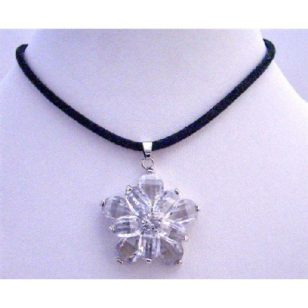 N414  Clear Crystals Sunflower Pendant w/ Velvet Cord Necklace