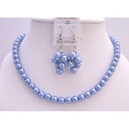 NS185  Gorgeous Delicate Nice Aqua Blue Pearls Necklace Set w/ Bunches of Pearls Earrings