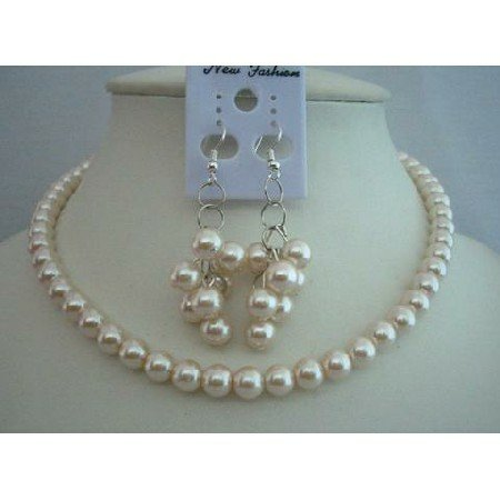 NS225  Cream Pearls Necklace Set Delicate Bridemaides Jewelry Set Simulated Pearls