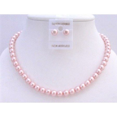 NS291  Wedding Jewelry Pink Pearls Necklace w/ Stud Earrings Affordable Bridemaids Jewelry