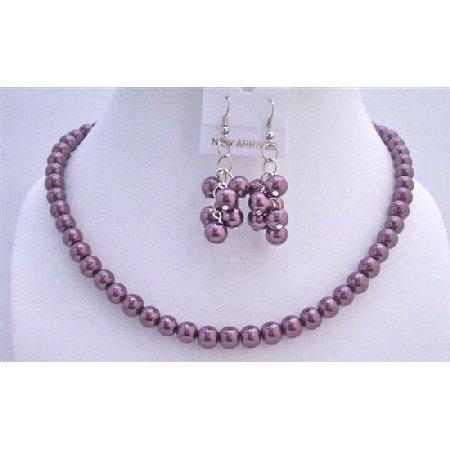 NS424  Purple Amethyst Pearls Jewelry Set Beautiful Wedding Pearls Necklace Set