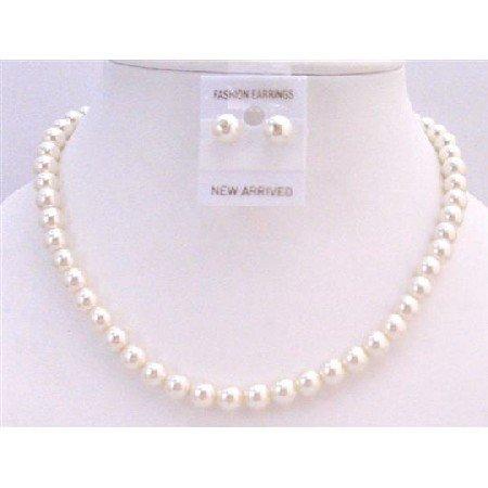 NS446  Cream Pearls Wedding Jewelry Set Cream Pearls Stud Earrings Necklace Set Jewelry