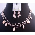 NS339  Pink Shell Neckace Sets Rose Quartz Nuggets Fancy Beads Handmade Jewelry