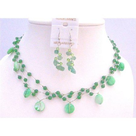 NS315 Beautiful Jade Green Shell Green Nugget & Fancy Beads Necklace Green Jewelry Set