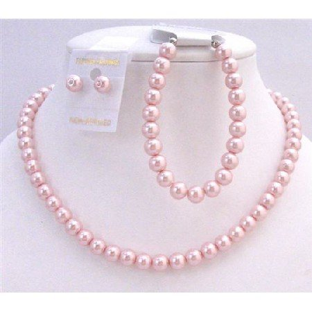 NS312  Necklace Earring Bracelet Pink Pearls Complete Set Bridemaids Wedding Jewelry Set