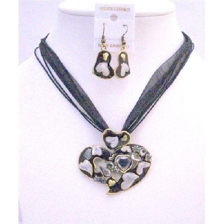 NS352  Beautiful Heart Jewelry Set Black Multi Heart w/ Sparkling Crystals Adorable Affordable