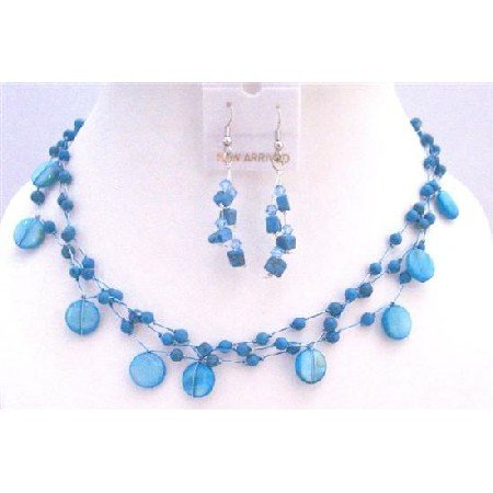 NS329  Turquoise Shell Jewelry Set Turquoise Fancy Beads Nugget Handcrafted Necklace Set