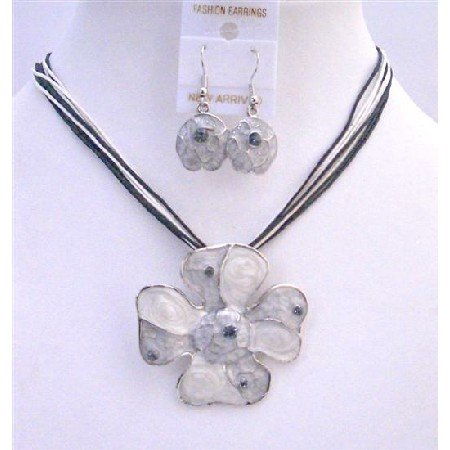 NS251  Grey Pendant Jewelry Set Enamel Grey Multi Stranded Necklace Set Adorable Jewelry
