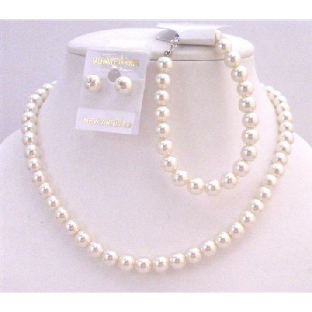 NS550  Complete Set Cream Pearls Necklace Earrings Toggle Clasp Bracelet Exclusive Handmade Jewelry