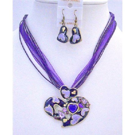 NS342  Purple Multi Heart Pendant Jewelry Set w/ Sparkling Crystals Embedded Enamel Heart