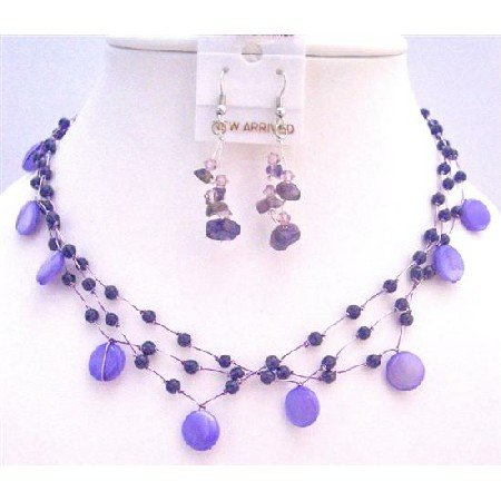 NS319  Amethyst Fabulous Necklace Set Purple Shall Amethyst Nuggets & Fancy Beads Jewelry Set