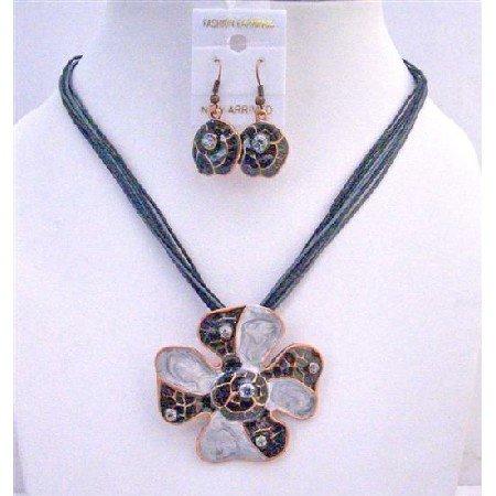 NS246  SunFlower Pendant Necklace Set Black Grey Pearls w/ Self designed Jewelry Set