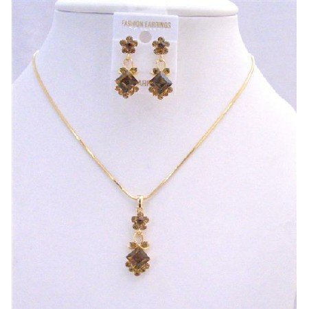 NS204  Gold Chain Necklace Set Light Dark Smoked Topaz Crystals Flower Wedding Jewelry Set