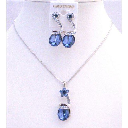 NS160  Sapphire Crystals Teardrop Necklace Sleek Dainty Adorable Jewelry Set