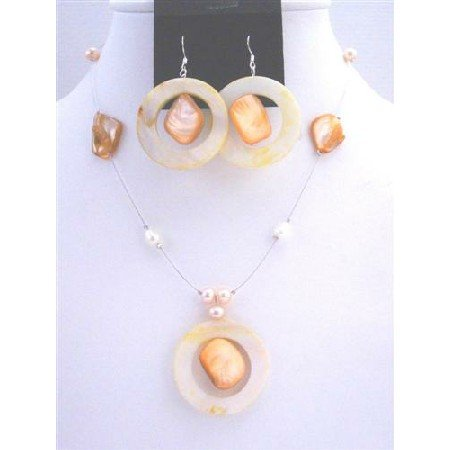 NS399  Round Shell Pendant Jewelry Set Freshwater Pearls Sleek Wire Necklace Set