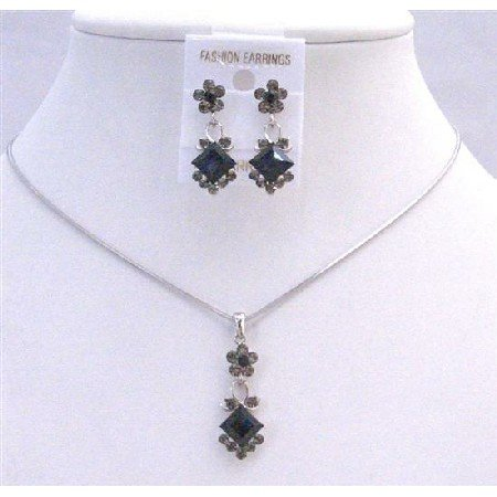 NS203  Black Diamond Jet Crystals Bridal Wedding Jewelry Set Cute Flower Necklce Set