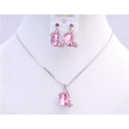 NS020  Teardrop Rose Crystals Necklace Set Jewelry Set Exclusive Wedding Jewelry Set