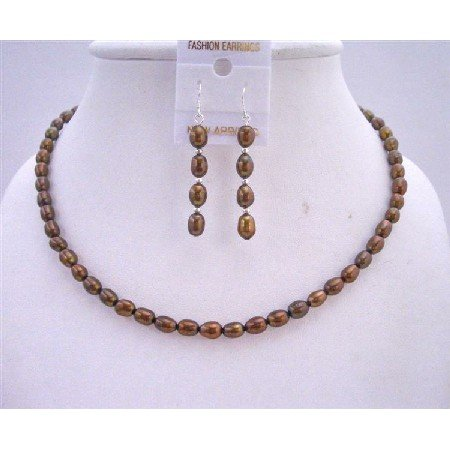 NS539 Metallic Brown Freshwater Pearls Necklace Set w/ Sterling Silver Earrings