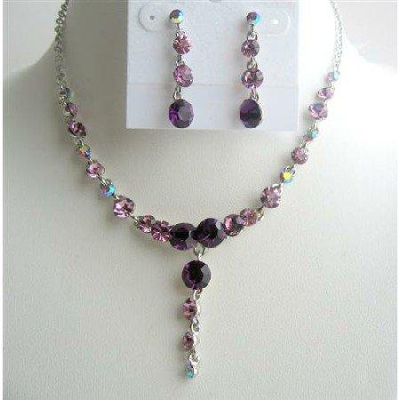 NS275  Dangling Drop Necklace Set Amethyst Crystals Stud Design Jewelry Set