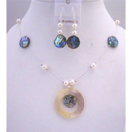 NS238  Abalone Shell Jewelry Set Shell Round Pendant w/ Freshwater Pearls Necklace Set
