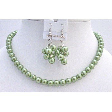 NS276  Pearls Jewelry Set Beautiful Green Pearls Unique & Sleek Pearls Necklace Set