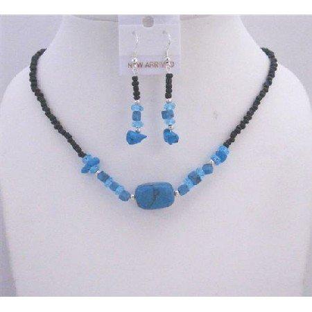 NS200  Turquoise Nugget Jewelry Set Black Beaded Necklace Turquoise Choker Set