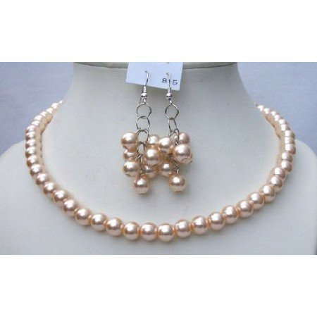 NS379  Very Cute & Elegant Peach Pearls Necklace Earrings Set Bridal Bridemaides Gift Jewelry