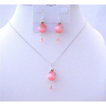 NS520  Rose Multifaceted Cat Eye Jewelry Set w/ Daisy Spacer Handmade Beaded Jewelry