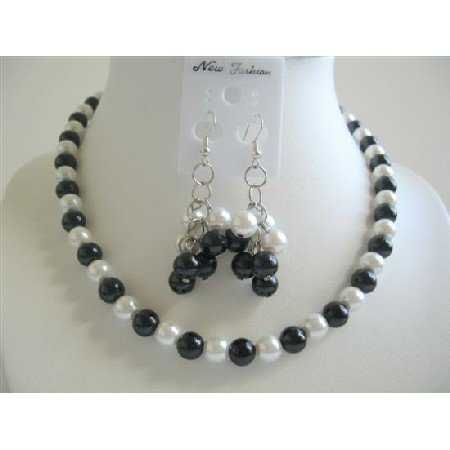 NS477  Simulated Pearls Black & White Jewelry Set w/ Dangling Pearls Earrings Necklace Sets