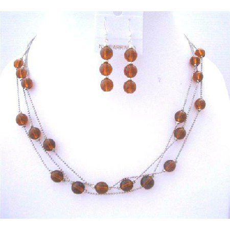 NS551  Brown Faceted 3 Strands Necklace Set w/Sterling Silver Earrings & Beads Jewelry Set