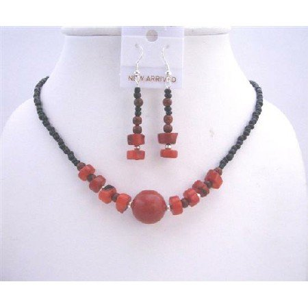 NS241  Coral Nugget Necklace Set Black Beaded Coral Nugget Choker Sets